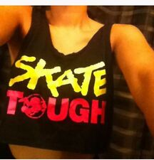 LADIES  CROP  DESIGNED TOP , SKATE-TOUGH STUSSY