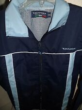 Diadora lined, light weight jacket age 7-8,in navy,pale blue/white zip up front