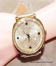 Joan Boyce Oversized Face Yellow Gold Tone Leather Crystal Watch Retail $89