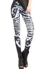 1T) Black Fashion Skeleton Bone print Galaxy Leggings one size UK 8 / 10 / 12