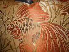 Throw Pillows woven fabric large tropical fish design in orange custom new PAIR