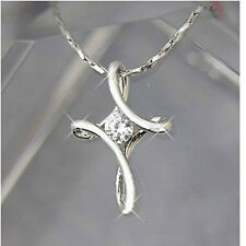 18K Platinum Plated Cross Pendant Necklace with Austrian Crystal Women Jewelry
