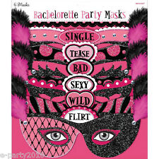 BACHELORETTE Team Bride MASKS (6) ~ Wedding Bridal Party Supplies Assorted Pink