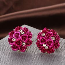 Women Girls  Elegant Rose Flower Crystal Rhinestone Ear Stud  Wedding Earring
