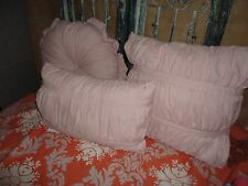CHEZMOI PINK RUCHED SHABBY COTTAGE (3PC) OBLONG ROUND SQUARE THROW PILLOWS