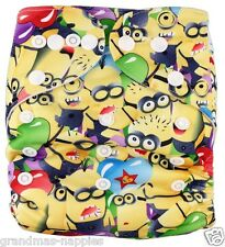 MODERN CLOTH NAPPIES REUSABLE ADJUSTABLE DIAPERS Minion's