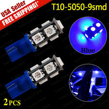 2X Ultra Blue T10 Interior/Dome Map License SMD Light Bulbs 5050 9-LED