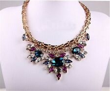 Hot Seller Fashion Crystal Rhinestone Drop Flower Statement Choker Bib Necklace