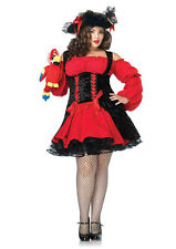 Pirate Costume Sexy Ladies Red & Black Vixen Pirate Wench Short Costume Dress PL