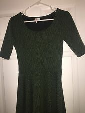 Lularoe Nicole Small Forest Green Black Patterned Striped Camo Camouflage Dress