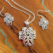 Celtic Cross Necklace and Earrings Set, Antiqued Silvertone with Heart in Center