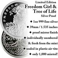 1 OZ SILVER COIN FREEDOM GIRL + TREE OF LIFE PROOF-# ON COIN -COA-1 OF 1000 AOCS
