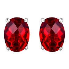 #10608 2.4ct. Ruby Red Helenite Oval Stud Earrings in 925 Sterling Silver