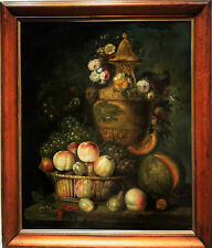 An 18th-century large Flemish still life of fruit of flowers, oil on canvas