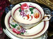 PARAGON Bone China ROSE BOUQUET RUBY CREAM Wide Tea Cup and Saucer