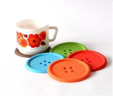 SET OF 4 COLOURFUL BUTTON SILICONE COASTERS COFFEE TABLE PLACE MATS DRINK HOLDER
