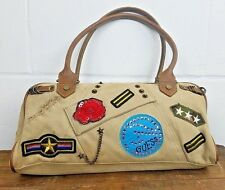 GUESS Vintage Handbag Brown Shoulder Bag Army Patches Birkin Style Purse (RARE)
