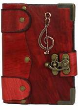 Music Note Pendant Red Leather Journal , Diary , Sketchbook , Leather