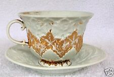 19th Century Meissen Gold Oak Leaf Porcelain Footed Cup & White Saucer