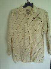 Men  Boy Akademiks Yellow Plaid  Long Sleeve Cotton Button Shirt Sz L 14/16