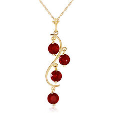 "2 CTW 14K Solid Gold Chain Genuine Ruby Necklace Pendant 18"" Buy 1 Get 1 Free"