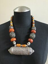 Coin Metal Amber Bead Necklace