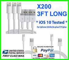 200X USB Charger Cable Cord Compatible to charge iPhone 7p/6/5 3FT Wholesale Lot