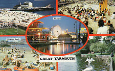 Postcard   Norfolk  Great Yarmouth multiview   unposted  damaged on reverse