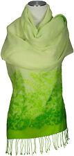 Wollschal Lime Grün Wolle Lurex Glitzer bestickt, scarf stole embroidered green