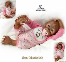 "Ashton Drake ""LELIA'S LOVING TOUCH""- 20"" INTERACTIVE BABY MONKEY DOLL & PACI-NEW"
