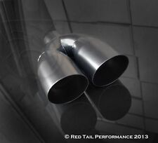 """Black Coated Dual Round Angled 3.5"""" OD Exhaust Muffler Tip w 2.5"""" Inlet ID RTP"""