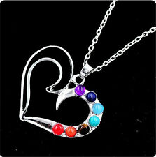 Silver Plated 7 Beads Heart Energy Of Life Healing Point Chakra Pendant Necklace