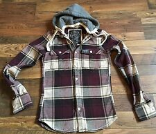 Superdry Men's Burgundy Red & Cream Checked Hooded Winter Shirt Size Small S