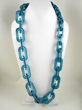 IRIS APFEL RARA AVIS STYLE RESIN GRADUATED CHUNKY CHAIN NECKLACE - AQUA