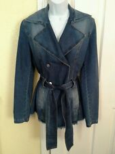 Fornarina Jean Jacket with belt distressed bottom size M made in Italy