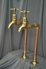 BRASS & COPPER TALL BIB TAPS IDEAL BELFAST KITCHEN SINK RECLAIMED FULLY REFURBED