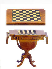 DOLLHOUSE MINIATURE Drop Leaf Chess Table - Fancy - Walnut Finish - 1:12 scale