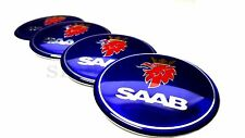 4x60mm Saab Blue Car Wheel Center Caps Plastic Curve Badge Sticker Logo