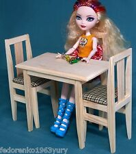 TABLE 2 Chairs set wooden Furniture dollhouse 1:6 scale 12 inch dolls Barbie EAH