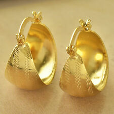 Nice New 9K Yellow Gold Filled Bingy Wide Chunky Embossed Band Hoop Earrings