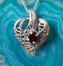 Anhänger Sterling Silber 925 Herz mit Granat rot Stein des Januar