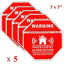 5pcs Monitored by 24 Hour Security System Stickers Saftey Alarm Signs Decal Home