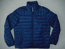 $195 Tommy Hilfiger Mens Blue Puffer Jacket Size Medium M Authentic Coat Down