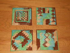 BROWNS & TURQUOISES COASTERS - SET 4 IN DIFFERENT DESIGNS WITH FELT BACKING(NEW)