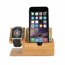2 in 1 Dock station carica supporto display stand BAMBOO con cavo USB per Apple