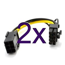 [2 pack] 10cm PCI Express PCIe 6 Pin to 8 Pin Graphics Card Power Adapter Cable