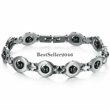 Anti-fatigue Silver Stainless Steel Black Magnetic Stone  Chain Link Bracelet
