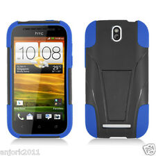 HTC One SV Cricket Boost Y Armor Hybrid Case Skin Cover w/ Stand Black Blue