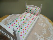 "White FLANNEL w/Polka Dots  ""Mattress/Pillow"" made for 18 Inch Doll Beds"