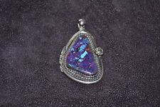Handmade Sterling Silver and Magenta Turquoise Pendant